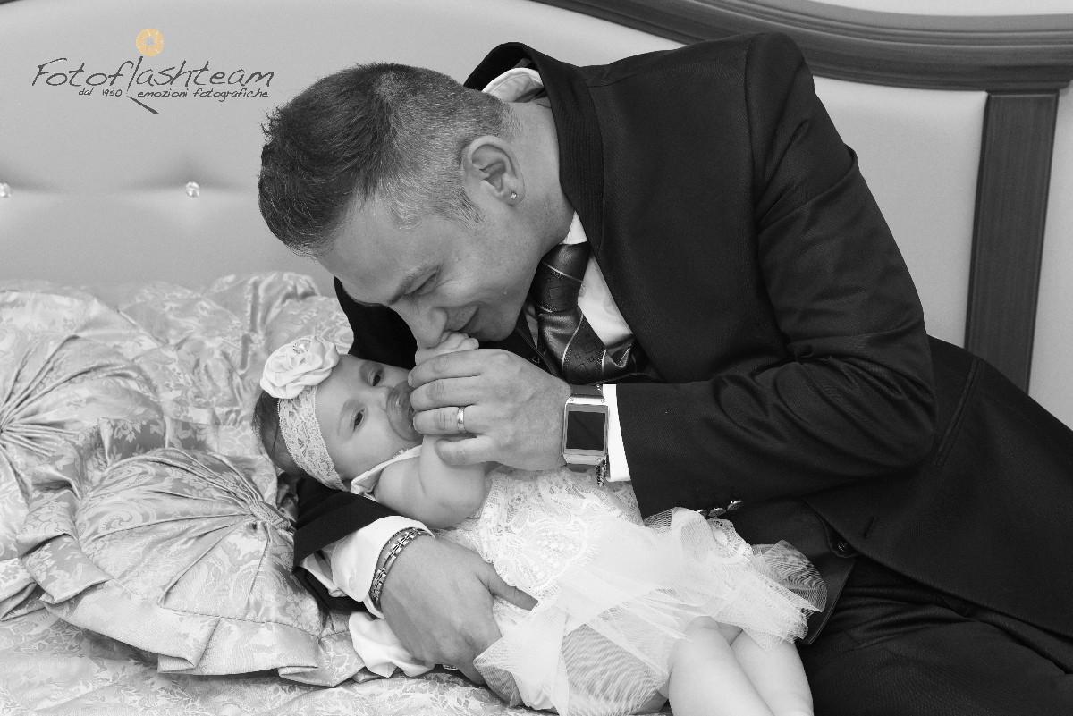 Bimba papà servizio foto Battesimo