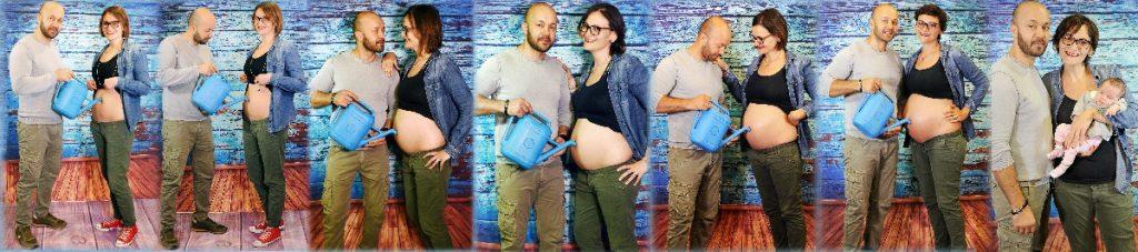Servizio fotografico gravidanza mese per mese foto panoramica gestazione mamma papà neonato
